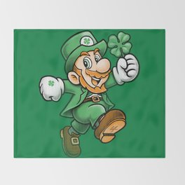 Lucky Mario Leprechaun Throw Blanket