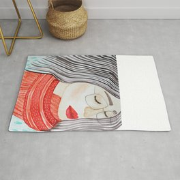 Beautiful lady with closed eyes in a red scarf wearing eyeglasses. Watercolor illustration. Rug