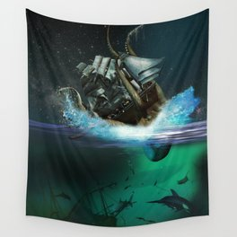 Kraken Attack Wall Tapestry