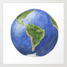 Watercolor  painting of planet earth Art Print