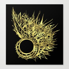 GOLDEN CURL - SHINING PAINTING ON BLACK BACKGROUND Canvas Print