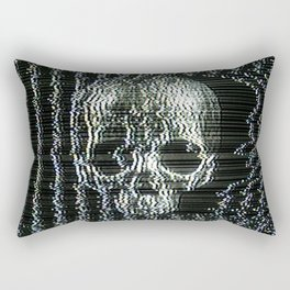 Analogue Glitch Jawless Skull Rectangular Pillow
