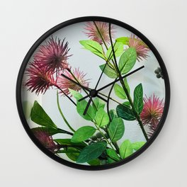 Japanese Pink Flowers By White Wall Wall Clock