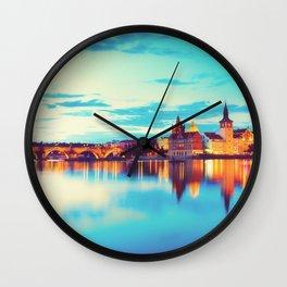 Prague at Twilight Wall Clock