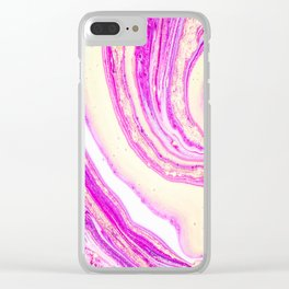 Marble pink and gold Clear iPhone Case