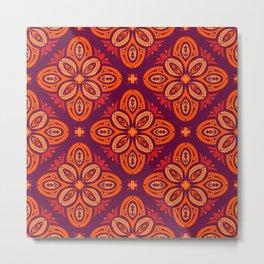 Nordic Folk Art Quatrefoils in Red Hues on Dark Plum (pattern) Metal Print