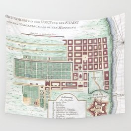 Vintage Map of Cape Town South Africa (1750) Wall Tapestry