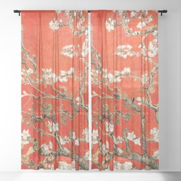 Red Almond Blossoms - Van Gogh (new color edit) Sheer Curtain
