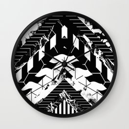 Layered (Black and white, abstract, geometric designs) Wall Clock