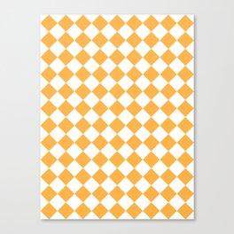 Diamonds - White and Pastel Orange Canvas Print