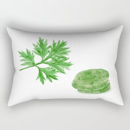 Watercolor Illustration of Crown daisy leaf and rice cake made with it Rectangular Pillow