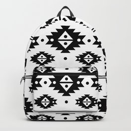 Black Aztec Tribal Diamonds Backpack