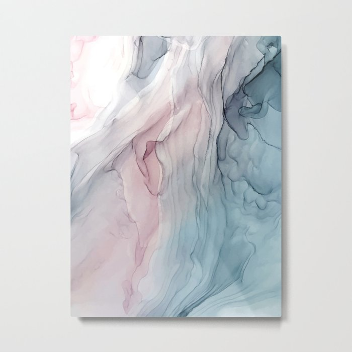 Calming Pastel Flow- Blush, grey and blue Metal Print