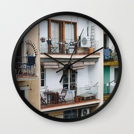 Apartment Balconies in Barcelona Wall Clock