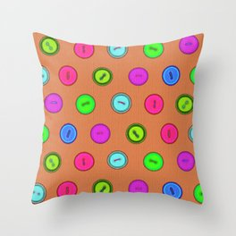 Stylish hand drawn colorful vintage buttons pattern on terracotta color Throw Pillow