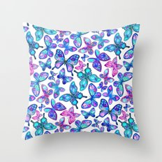 Watercolor Fruit Patterned Butterflies - aqua and sapphire Throw Pillow