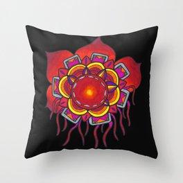Red Flower Design Throw Pillow