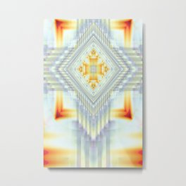 Fractal Art- Religious Cross- Native American- Yellow Art- Illuminative- Orange Art- Metal Print