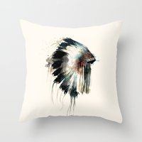 white Throw Pillows featuring Headdress by Amy Hamilton