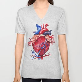 Watercolor heart Unisex V-Neck