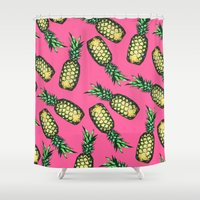 georgiana paraschiv Shower Curtains featuring Pineapple Pattern by Georgiana Paraschiv