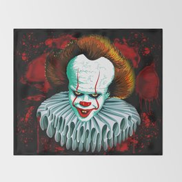 The Dancing Clown - Pennywise IT - Vector - Stephen King Character Throw Blanket