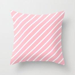 Diagonal Lines (White/Pink) Throw Pillow