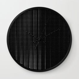 Rhythm of white dots on black background Wall Clock