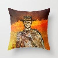 clint barton Throw Pillows featuring Clint by Rabassa