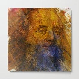 4th of July for Men Benjamin Franklin water paint portrait Metal Print