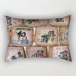 Sake barrels at shrine Rectangular Pillow