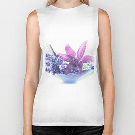Summer flower pattern lilies and lavender Biker Tank