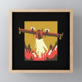Fire Fighter Airplane Fireman from Above 2020 Framed Mini Art Print