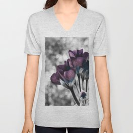 Pop of Color Flowers Muted Eggplant Teal Unisex V-Neck