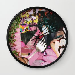 let them eat cake! a pink and green paper collage Wall Clock