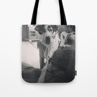 great dane Tote Bags featuring Great Dane by aubreyplays