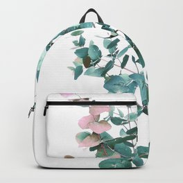 Rose and Teal Eucalyptus bouquet Backpack