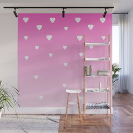 Pink Ombre with White Hearts Wall Mural