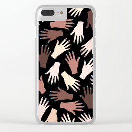Nail Expert Studio - Colorful Manicured Hands Pattern on Black Background Clear iPhone Case