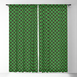 Christmas Holly Green and Red Diagonal Argyle Tartan with Crossed Red and White Lines Blackout Curtain