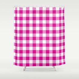 Jumbo Shocking Hot Pink Valentine Pink and White Buffalo Check Plaid Shower Curtain