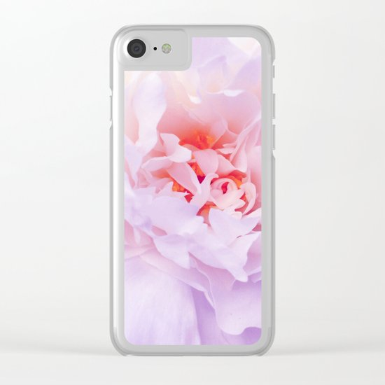 Purple Peony Clear iPhone Case