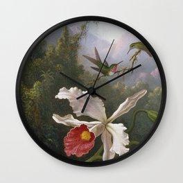 Martin Johnson Heade - Two hummingbirds above a white orchid Wall Clock