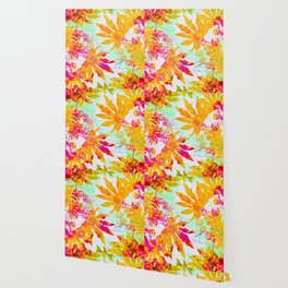 Tropical Adventure - Neon Orange, Pink and Mint Wallpaper
