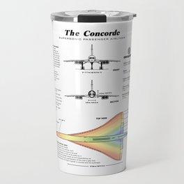 Concorde Supersonic Airliner Blueprint (white) Travel Mug