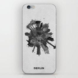 Berlin, Germany (Deutschland) Black and White Skyround / Skyline Watercolor Painting iPhone Skin