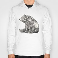 bears Hoodies featuring Bear // Graphite by Sandra Dieckmann