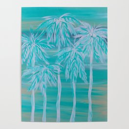 Teal Palm Trees Poster