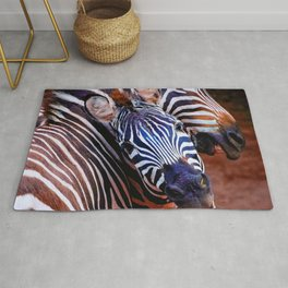 Two Zebras Playing With Each Other Rug