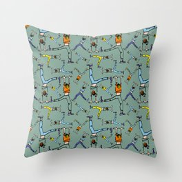 Upside down pattern (in green) Throw Pillow